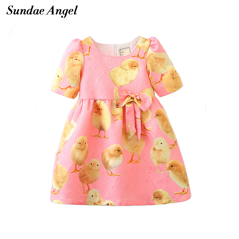 Sundae Angel Girl Print Dress Brand Short Sleeve Kids dresses For Girls Spring Bowknot Chicken Pattern Children's Clothes 3-8 Y 3 4 sleeve tribal print shift mini dress
