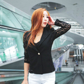 2015 Women Lace Small Jacket Slim Short Lace Blazer Lace Crochet Collar Sexy Long Sleeve Stitching Small Suit