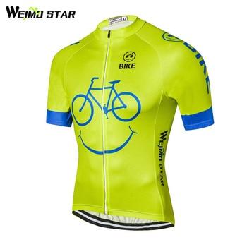 Weimostar Cycling Team Jersey Manga Curta Corrida de Bicicleta Esporte Ciclismo Roupas Ropa ciclismo 100% Poliéster Jersey Bicicleta mtb