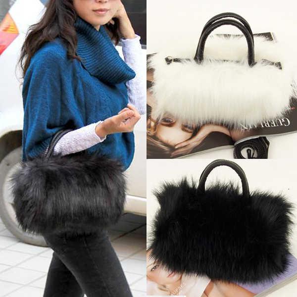 Musim Gugur Musim Dingin Korea Fashion Gadis Liar Portabel PU Kulit Wanita Desain Bulu Imitasi Tas Tangan Wanita Tas Bahu Kecil Totes