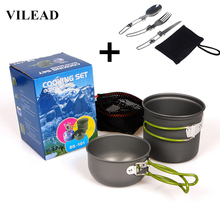 VILEAD Portable Outdoor Tableware Camping Hiking Travel Utensils Picnic Cookware Bowl Pot Pan Set for 1-2 People Free