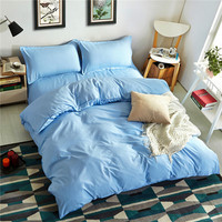 Modern Simple Style Blue Beautiful Quilt Cover High Quality Fabric Ultrafine Fiber Filled Duver Cover Bed