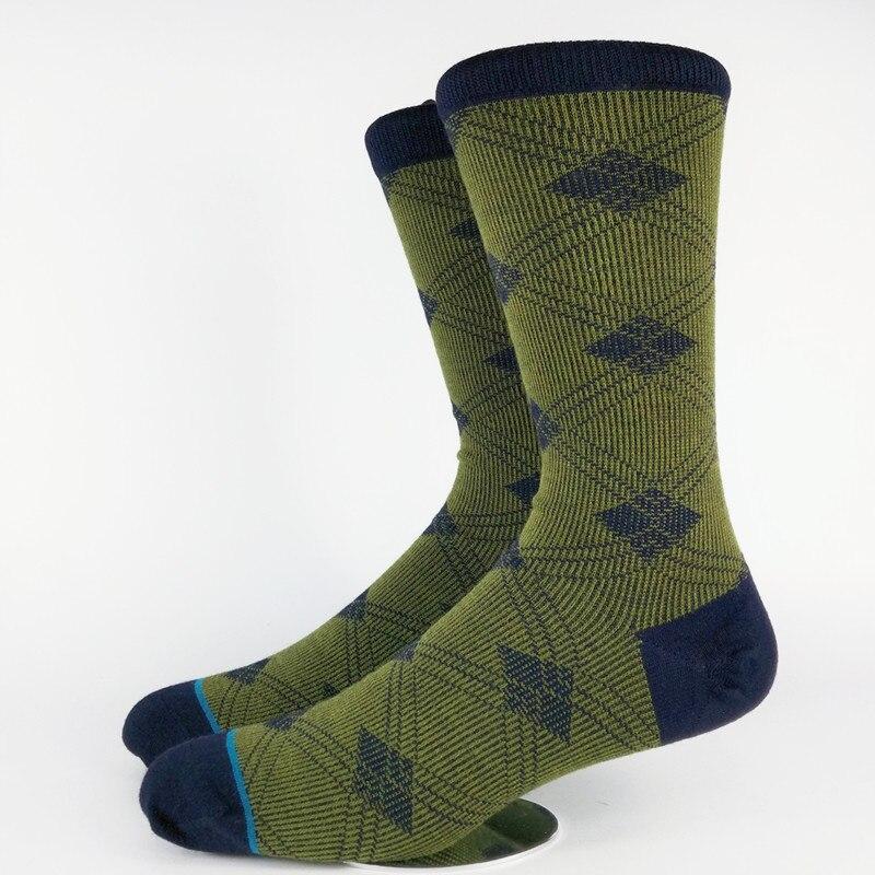 Mens Olive Plaid 35% Merino Wool Blend Skate Dress Socks USA Size M(6-8.5),L( 9-12) ,Euro Size 39-41.5,42-45