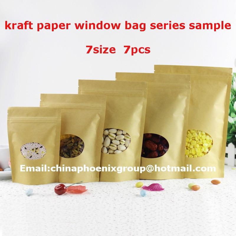 Acheter 7 taille différente échantillon papier kraft fenêtre sac série échantillon doypack poche 7 pcs livraison gratuite de pouch pouch fiable fournisseurs