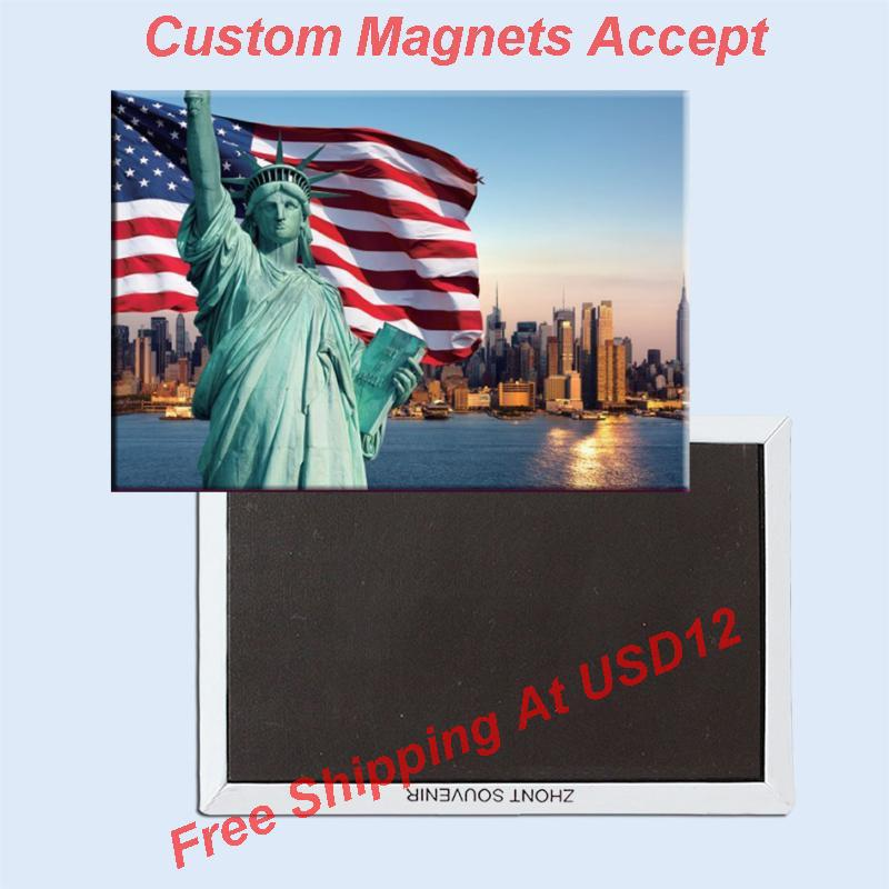 FREE shipping Over Min. Order $12, US New York Statue of Liberty/Flag Tourist Metal Fridge Magnet SFM5167 Travel Memorabilia image