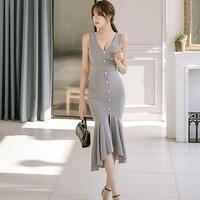Новая модель корейской ПР темперамент летнее платье женские Глубокий V шеи бак решетки сексуальные платья vestido de festa