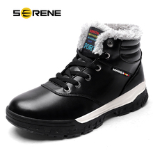 SERENE Brand Men's Boots Big Size Waterproof Male Leather Shoes Work Boot Warm Fur Winter Casual Snow Sneakers Mens Ankle Boots все цены