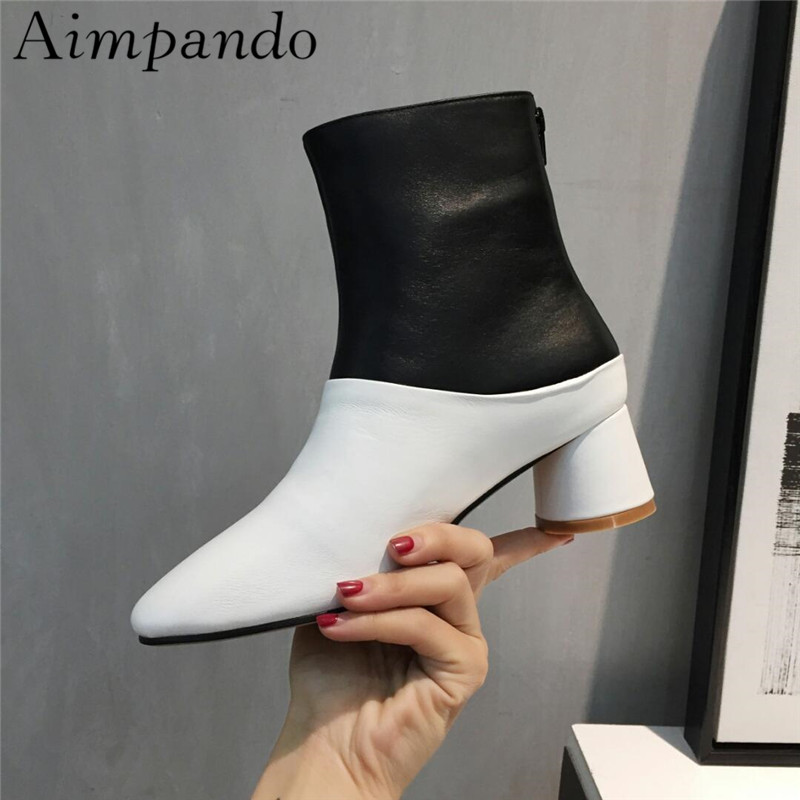New Arrival Black White Leather Patchwork Ankle Boots Round Chunky Heel Mixed Color Back Zip Short Booties women irresistible suede color patchwork ankle boots round toe chunky heels classic side zip short boots new arrival this year