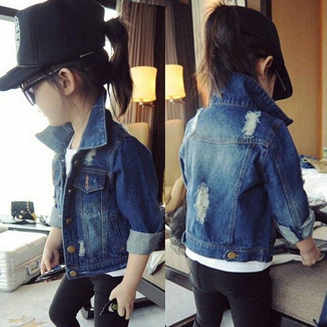 New Girls Denim Jacket Ripped jeans Girls Coat Hole Girls Jackets Veste  Enfant Fille Girls Jacket 6GCT107 9ead3417ef7