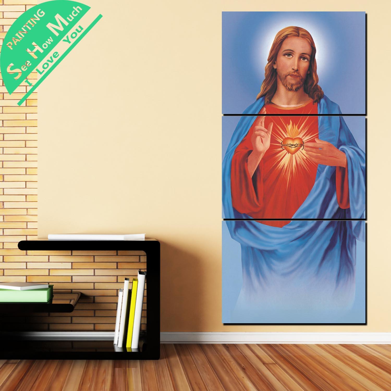 дешево!  3 Шт. Благословенный Иисус Образ с Традицией Сердца HD Печатный Холст Картины с Картинками Украшения Лучший!