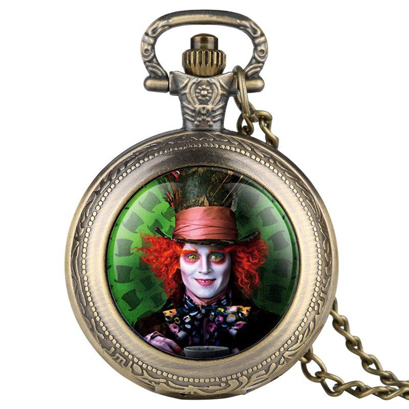 Alice in Wonderland Mad Hatter Rabbit Drink Me Tag Quartz Pocket Watch Dark Brown Glass Necklace Pendant Gifts for Women Girls 2019 2020 2021 2022 (1)