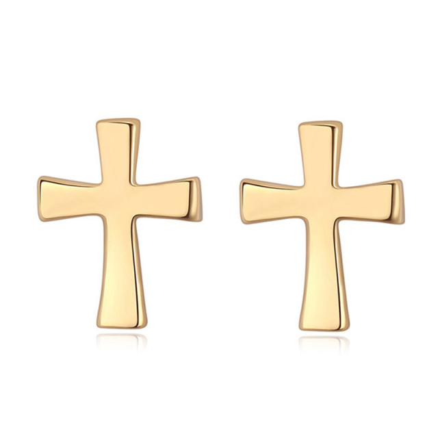 New Arrivals Gold Cross Earrings Small Birthday Gifts For Men Vintage Jewelry Accessories