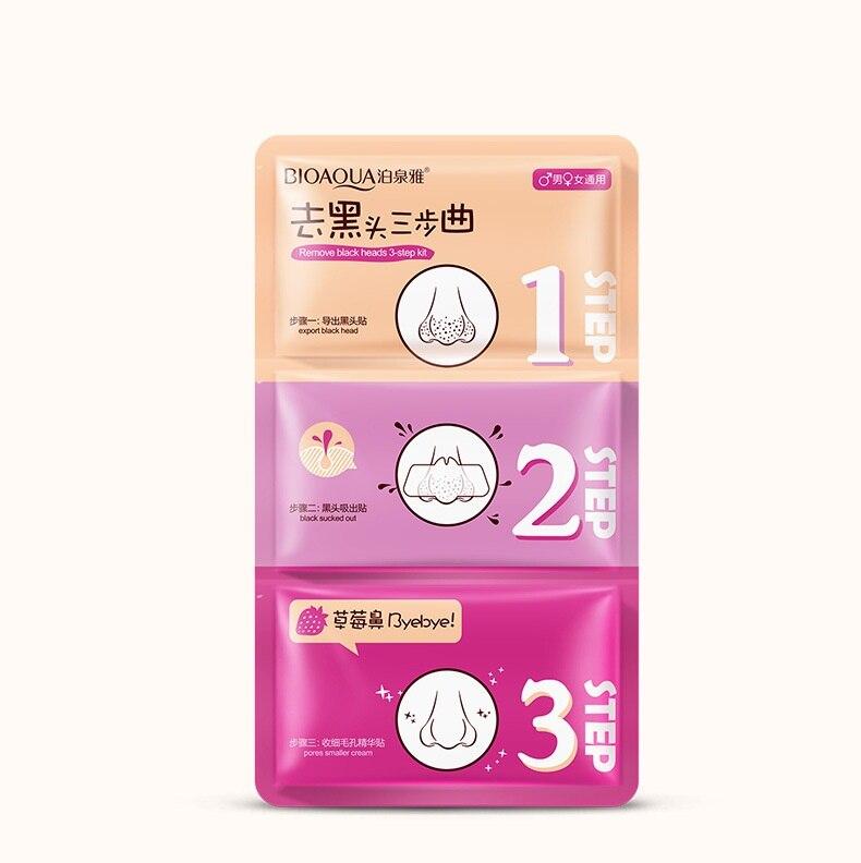BIOAQUA 3 Step Remove Blackhead Kits To Shrink Clean Pores Nose Strips for Female/Male T Zone Care Set mascara preta cravos acne Комедон