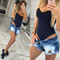 3 color xl Fashion Hot Summer V neck Lace stitching Sexy Short camisole combinaison women bodysuit Female catsuit