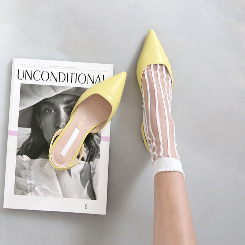 Summer Baotou Flat-soled Shoes With 100 Flat Heels And Empty Sandals For Women Shallow-mouthed With Point Flat-soled Fairy Shoes