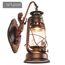 Artpad Outdoor Waterproof Chinese Style E27 Iron Wall Lamps Kerosene Lamp Lantern Industrial Corridor Balcony Retro Light antique rustic iron waterproof outdoor wall lamp vintage kerosene lantern light rusty matte black corridor hallway wall light