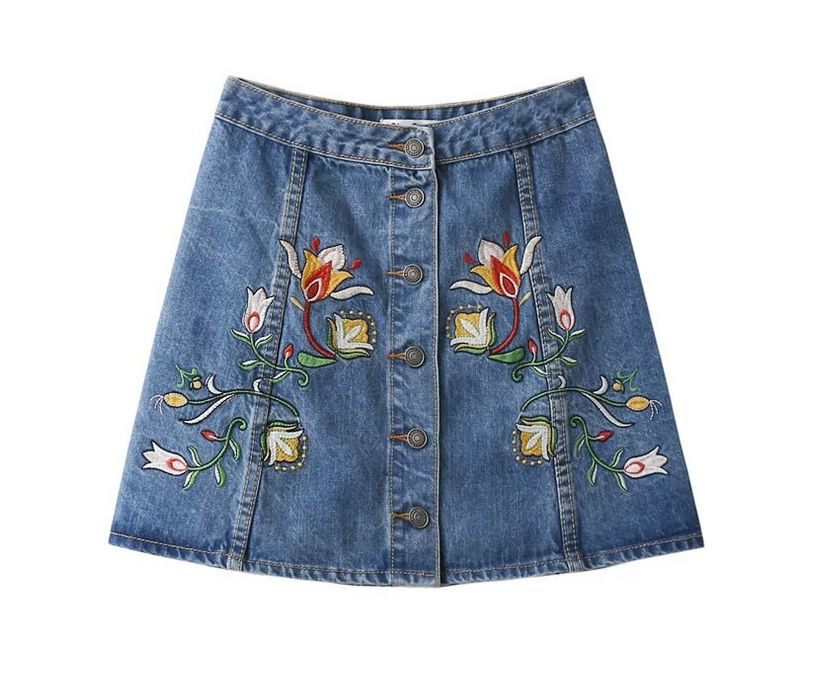 Embroidered Denim Skirt Promotion-Shop for Promotional Embroidered ...