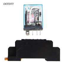 OOTDTY 1Set With Socket Base AC 220V Coil Power Relay 10A DPDT LY2NJ HH62P HHC68A-2Z New 10 sets free shipping ly4nj hh64p dc24v 14pin 10a power relay coil 4pdt with ptf14a socket base