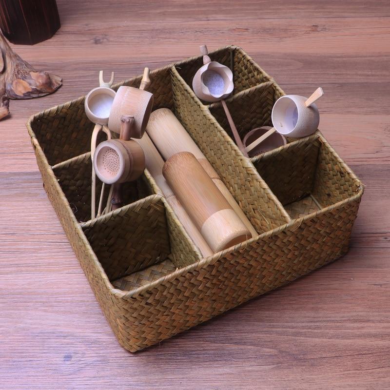 Storage Baskets Objective Wcic Rattan Wicker Fruit Basket Food Snack Handmade Natural Straw Organizer Box Sorting Case For Wedding Five-frame Storage Box Home & Garden