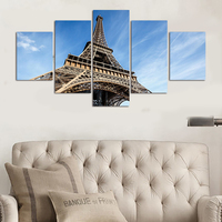 5 Pcs HD The Blue Sky Of The Eiffel Tower Top Rated Canvas Print For Living