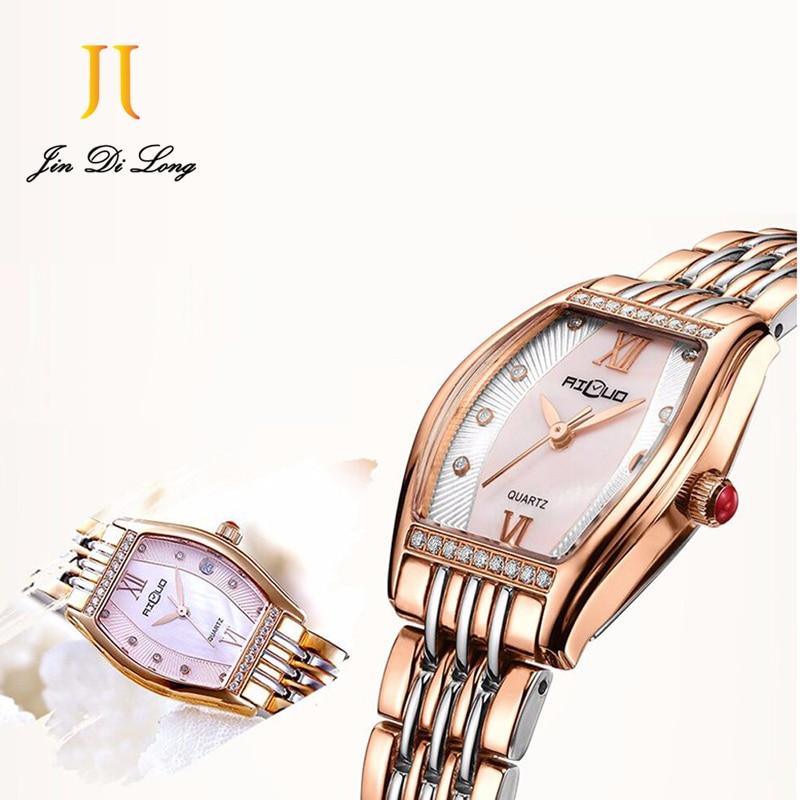 Ailuo Luxury Fashion Ladies Casual Dress Watch Women Elegant Glory Quartz Watches Retro Diamond Wristwatch Waterproof 50M fashion elegant m