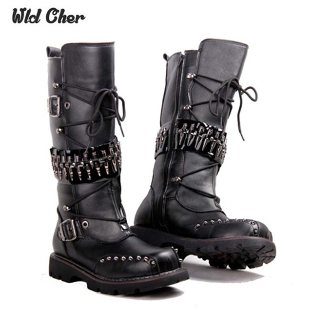 2017 punk Over Knee High Boots Mens Military Boots Natural Cow Leather Men  Long Waterproof Snowboots Equestrian Motocycle Boots c1f8dcee65cd
