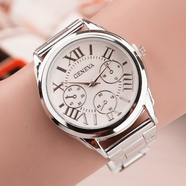2017 Geneva Ladies font b Watch b font Roman Numerals Quartz Stainless Steel Wrist font b
