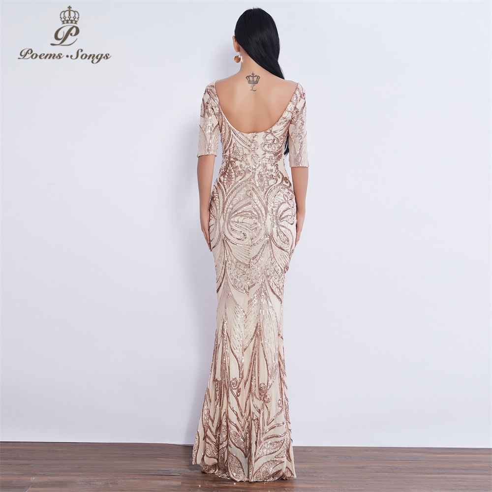 Image 4 - New Half sleeve Butterfly style Sequin mermaid Evening dress vestido de festa  Party dress robe de soiree butterflies prom dress-in Evening Dresses from Weddings & Events