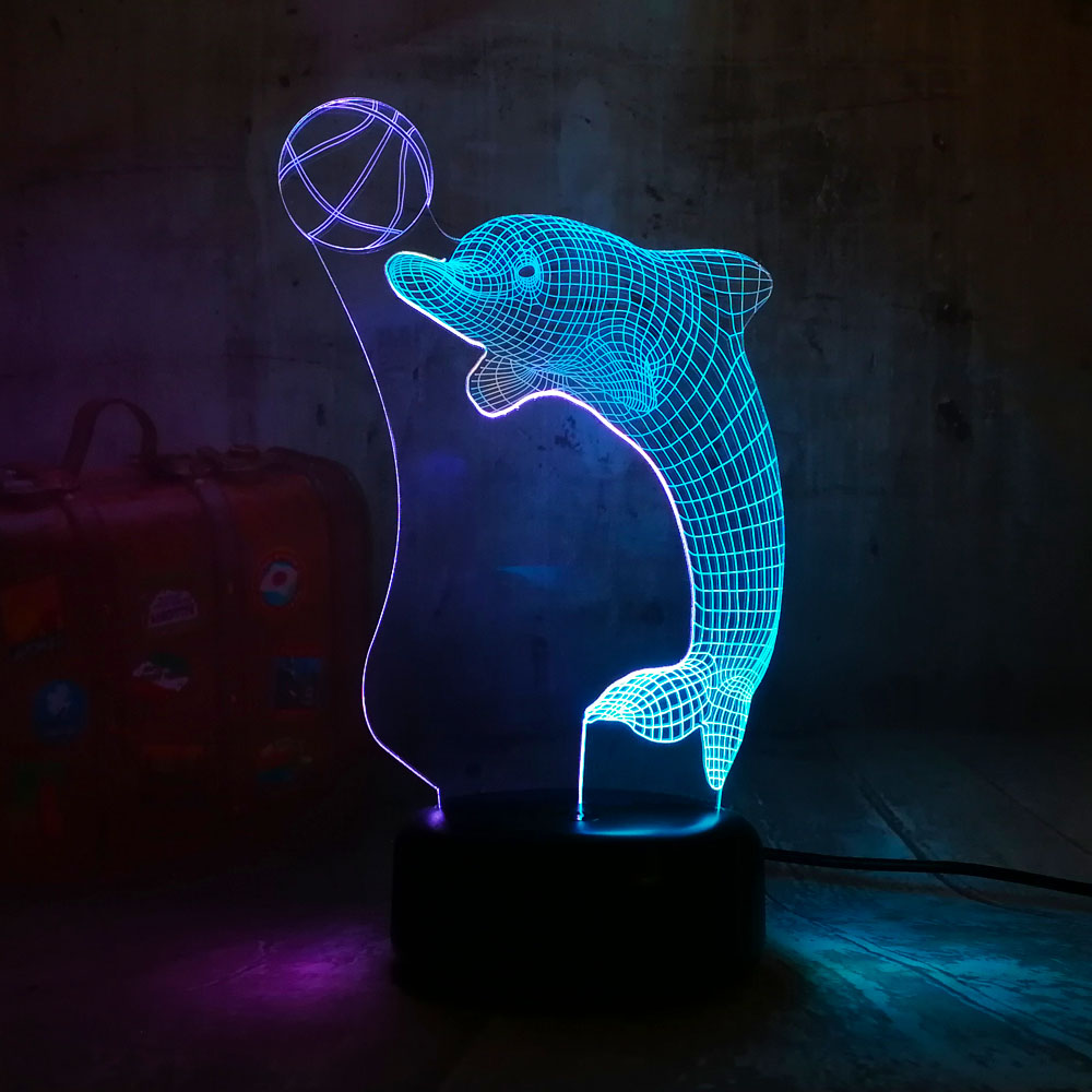 New Cute Dolphin Play Ball 3D LED Night Lihgt 7 Color Mixed Colors Beauty Christmas Gift for Girls Kids Novelty Home Decor Lava