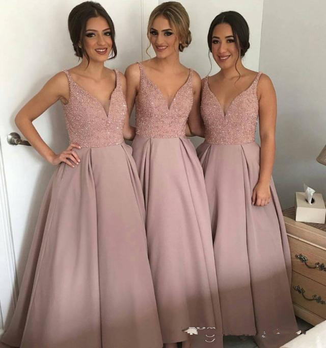 Sparkling Blush Pink Bridesmaid Dresses V Neck Sleeveless High-Low Heavy Beaded Junior Country Bridesmaid Dresses Long