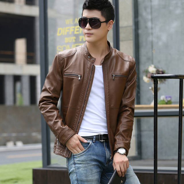 2016 new Male leather motorcycle clothing slim thin stand collar leather jacket short design male spring and autumn outerwear
