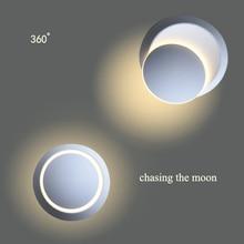 Moon Wall Lamp 3D 360 Rotation Adjustable 110V 220V