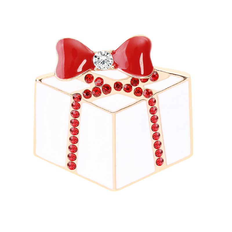 Christmas Theme Brooch Pin cute Cake Red Bow Personality Trend Best Gift