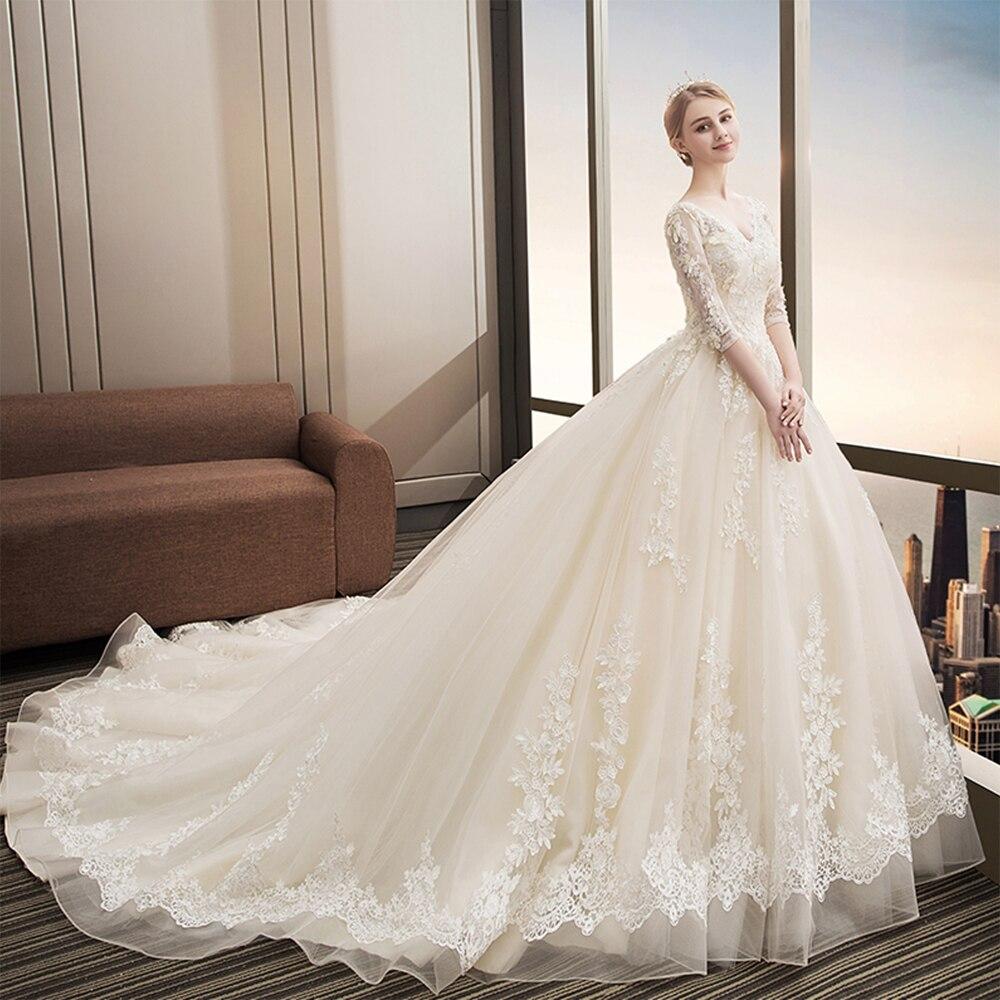 Fansmile Luxury Long Train Vestido De Noiva Lace Wedding Dress 2019 Customized Plus Size Wedding Gowns Bridal Dress FSM-480T
