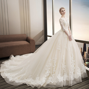 Image 2 - Fansmile יוקרה ארוך רכבת Vestido דה Noiva תחרה חתונה שמלת 2020 מותאם אישית בתוספת גודל שמלות כלה כלה שמלת FSM 480T