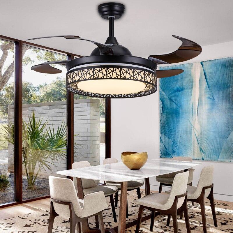 Retro invisível ventilador de teto luz para o quarto sala estar jantar luzes do ventilador com moderno e minimalista simples ninho pássaro led