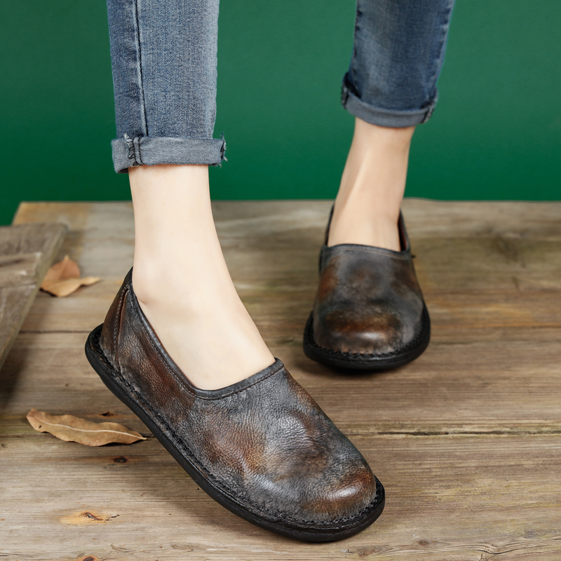 2017 Spring Handmade Genuine Leather Women Vintage Flats High Quality Designer Brife Round Toe Female Retro Shoes Woman high quality iron wire frame sun glasses women retro vintage 51mm round sn2180 men women brand designer lunettes oculos de sol