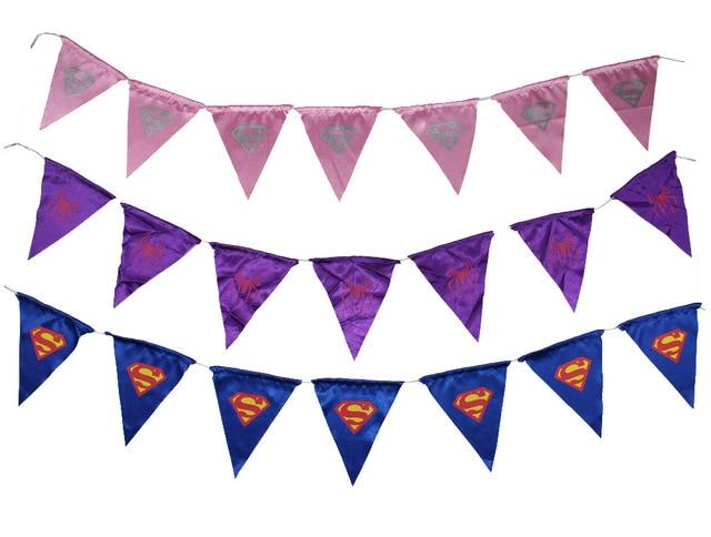 Children Superman Spidergirl Supergirl Flag Bunting Event Party Supplies Decoration Birthday Gift