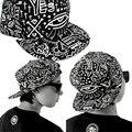Grafitti boné de Beisebol chapéus das mulheres Da Lona Do Vintage menino Plana Chapéu Hip Hop menina dança rabisco Hippie impressão Tampão ajustável preto