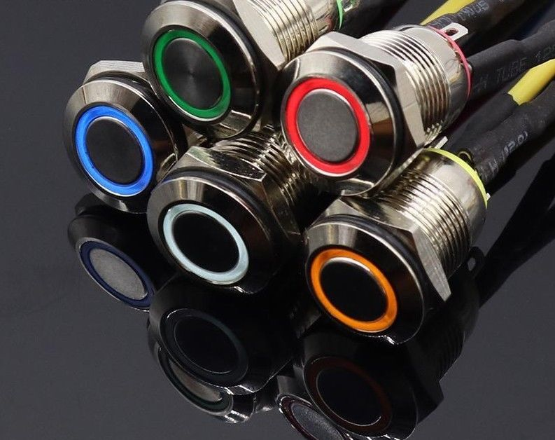 <font><b>12MM</b></font> Self-Recovery With <font><b>LED</b></font> 3V 5V 12V 24V 220V Metal Momentary <font><b>Switch</b></font> Button Auto Reset Waterproof Illuminated image