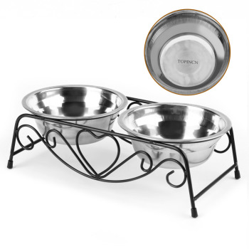 Stainless Steel Double Dog Bowl  5