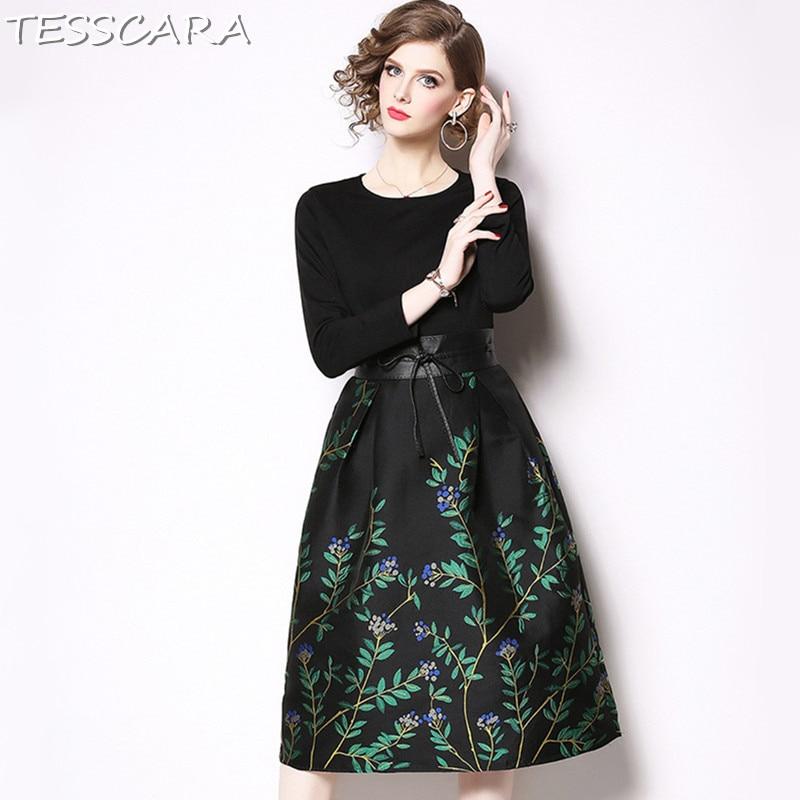 d9decaf21 TESSCARA mujeres otoño elegante Jacquard Vestido de Festa mujer Vintage de  alta calidad diseñador de Vestidos