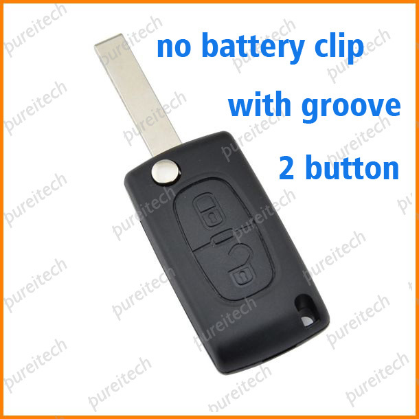 PREISEI 20pieces/lot car flip remote key case fob 2 buttons no battery place ce0523 for citroen with groove image