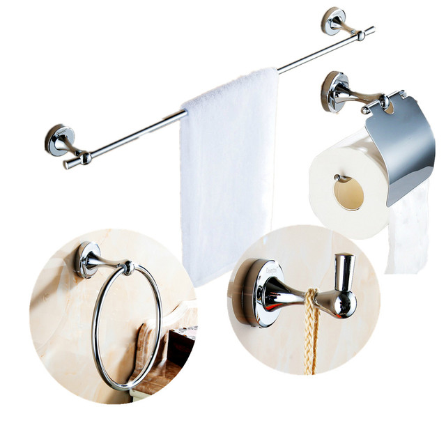 Modern Solid Br Bathroom Accessories Silver Polished Chrome Bath Hardware Sets Wall Mounted Products Dw7