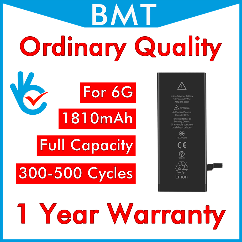 BMT original 10pcs/lot Ordinary Quality 0 zero cycle Battery for iPhone 6 4.7 6G replacement repair parts BMTI6GOQ