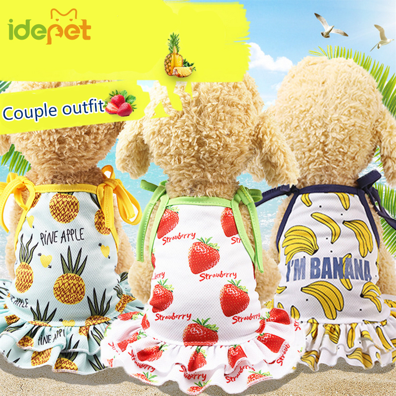 Banana Print Puppy <font><b>Dress</b></font> <font><b>Harness</b></font> Small <font><b>Dog</b></font> Cat T-shirt Summer Vest chihuahua <font><b>Dress</b></font> Couples Pet Clothes Ropa de Cachorro 30s2 image