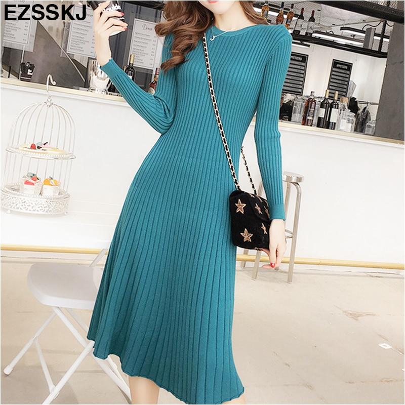 Женское трикотажное платье свитер, облегающий пуловер с круглым вырезом и длинными рукавами, теплое платье для женщин|Платья| | АлиЭкспресс