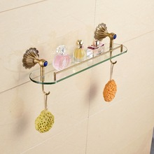 Wall Mounted Bathroom Shower Caddy Cosmetic Storage Shelf Antique Brass