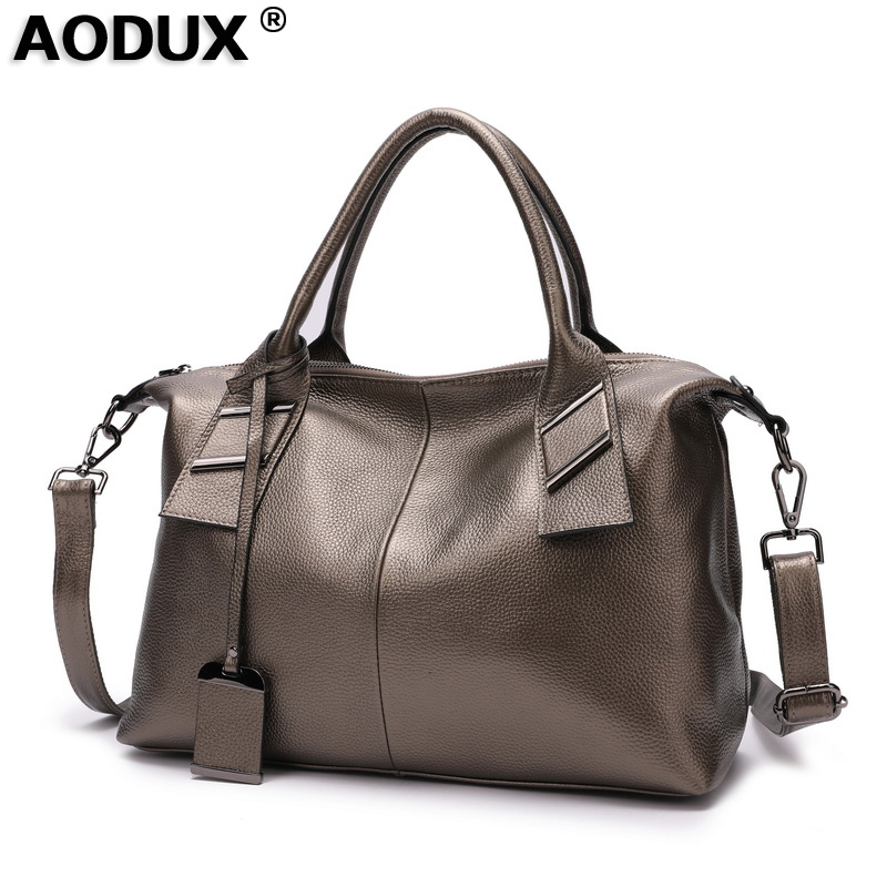 Aodux 2019 New 100 Genuine Cow Leather Casual Women s Top Handle Bag Ladies Shopping Handbags