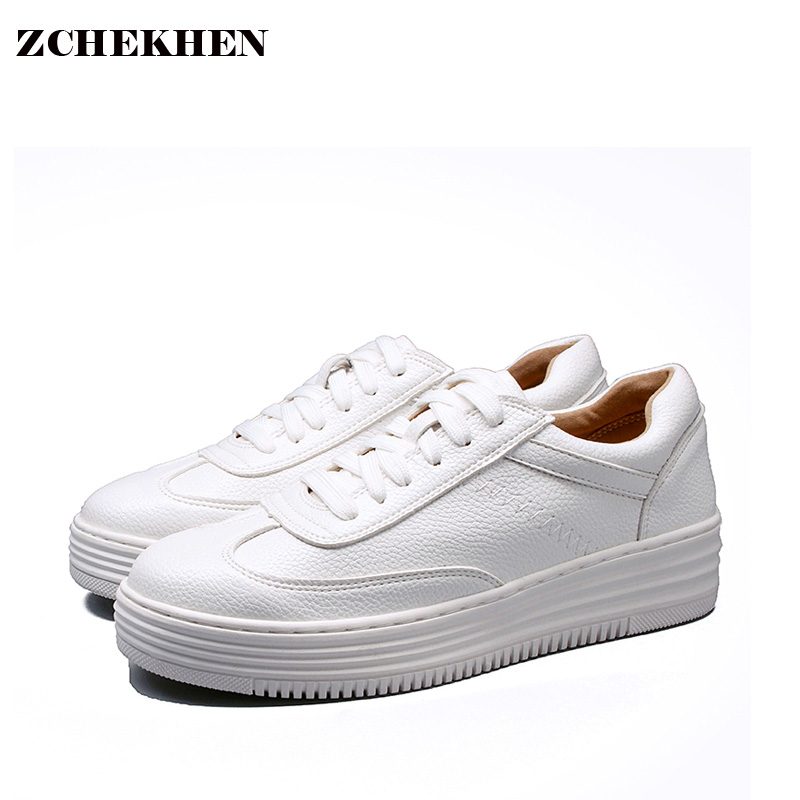 Soft Leather Lace up Casual Shoes Students Breathable White Shoes Slipony 2017 Spring Summer Women Footwear